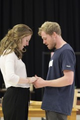 Claudia Jolly (Katherine Draper) and Sam Reid (Gene Laine) in Girl from the North Country at The Old Vic. Photo by Manuel Harlan